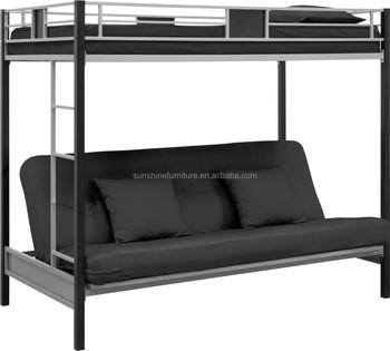 Cheap Silver Black Metal Folding Bunk Bed Futon