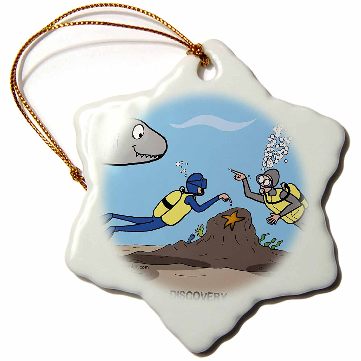 3drose Scuba Surprise Diver Points Out Star Fish and Buddy Points Out The Shark Snowflake Porcelain Ornament, 3-Inch