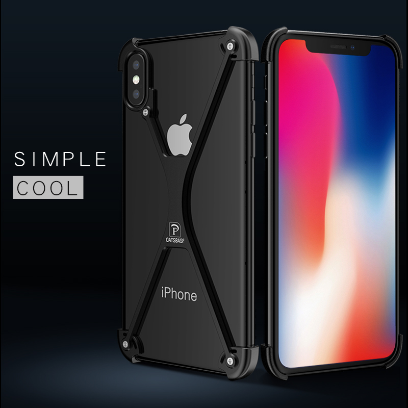 best website 35b36 0a77b US $10.91 22% OFF|OATSBASF X Shape Case For iPhone X case Personality Shell  for iPhoneX / iPhone 10 Ten Metal Bumper cover cases with Retail Box-in ...