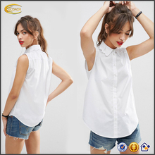 New summer wear 2016 Scallop Collar sleeveless design wholesale top brand tee white t-shirts with Curved hem for school girl