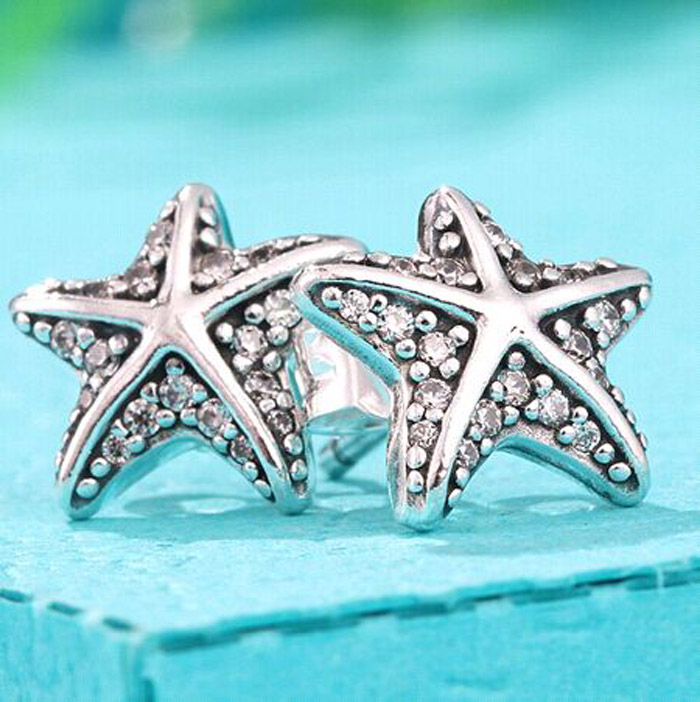 Crystalized Snowflake Sterling S925 Silver Earing Ear Stud for European Style