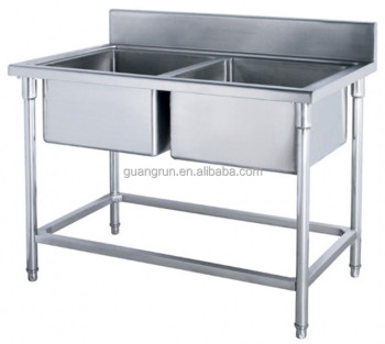 Restaurant Used Double Bowls Free-standing Commercial Stainless ...