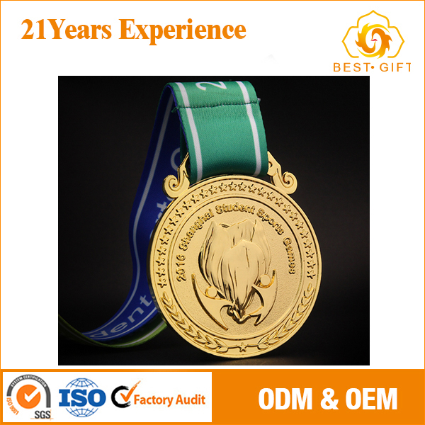 OEM High quality gold cheap award medals strap