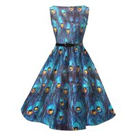 wholesale 1950s vintage retro peacock printing maxi sizing swing dresses for ladies