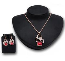 Fashion Women Ruby Necklace And Earrings Set Hook Types Jewelry Set