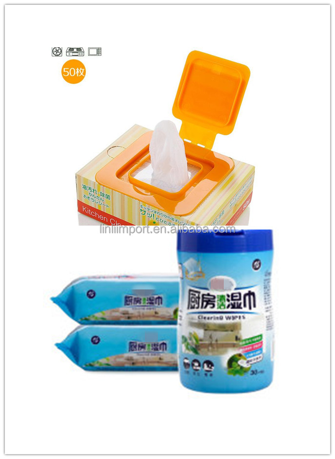 Hangzhou factory supply kitchen/hotel/facial&mouth/hand cleaning wet wipes with Plastics Lid Package