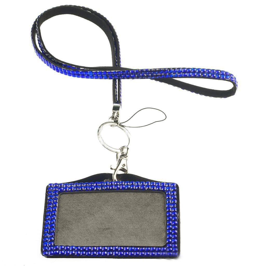 Card ID Badge Holder - TOOGOO(R) Horizontal Resin Rhinestone Work Card ID Case Holder Lanyard Sling (Dark Blue)
