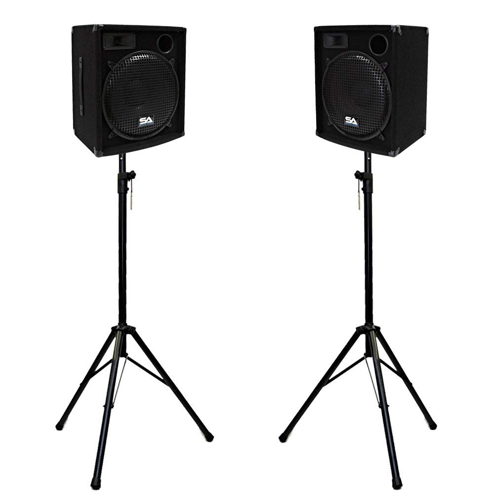 """Seismic Audio - SA-15.2-PKG1 - Pair of Compact 15"""" PA Speakers with two Tripod Speaker Stands"""