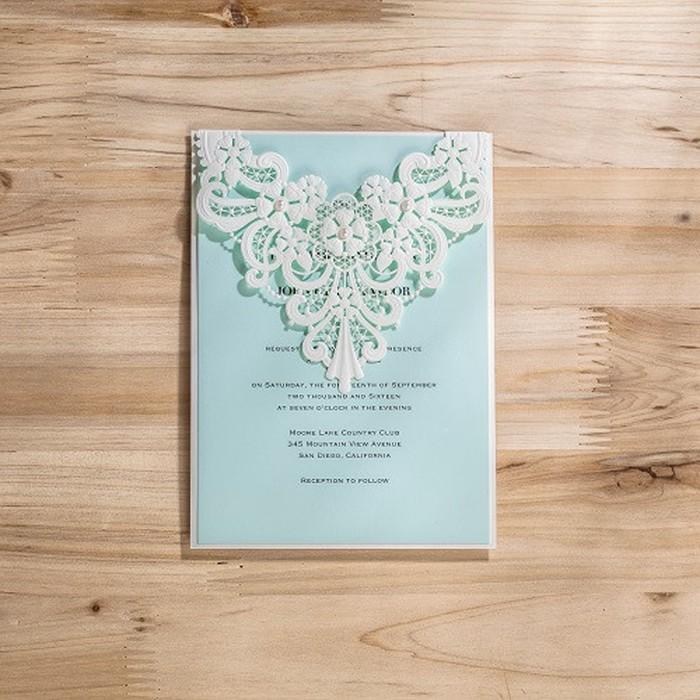 Unique Design Fanciful Top Folded Royal Blue Blank Wedding Invitation Card