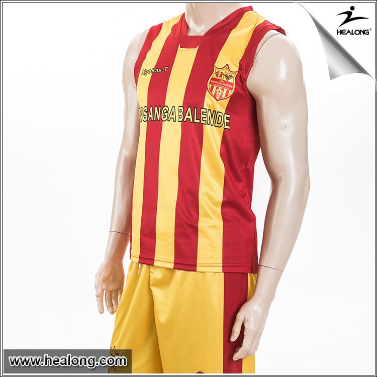 Mesh Dri Fit Fabric Yellow Red Sublimation Soccer & Football Vest