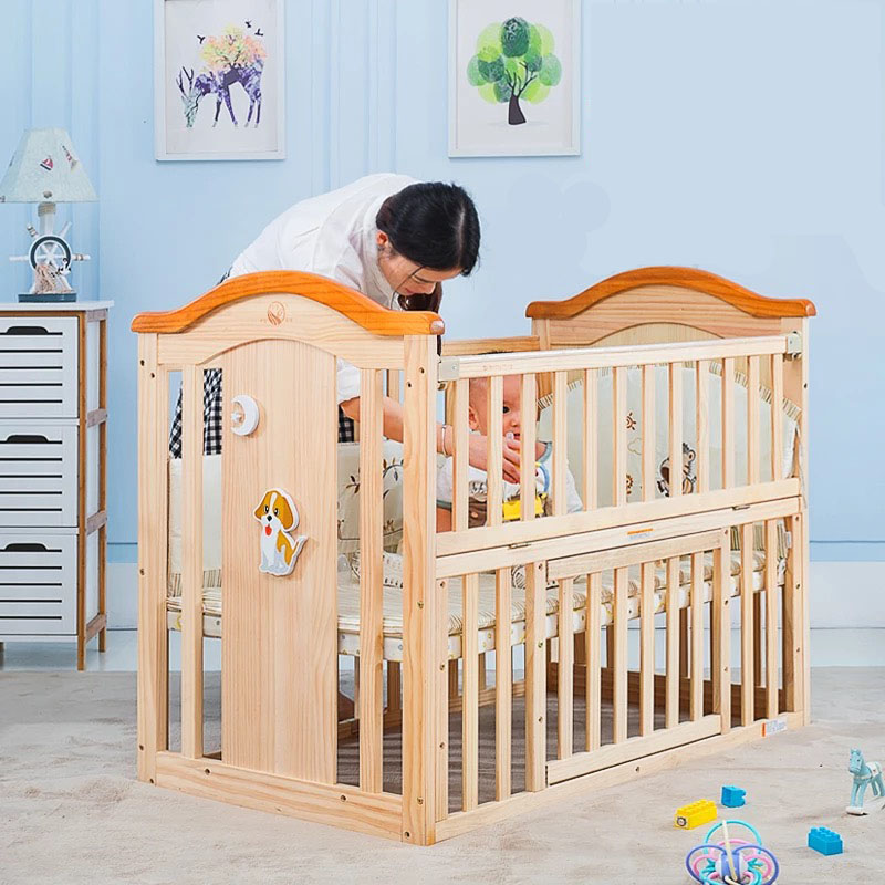 Height adjustable wooden designer baby cot prices