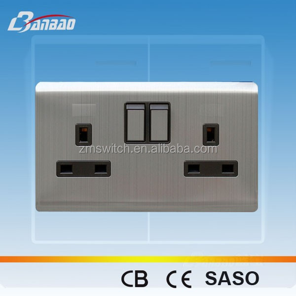 Luxury 13A double UK switched wall socket