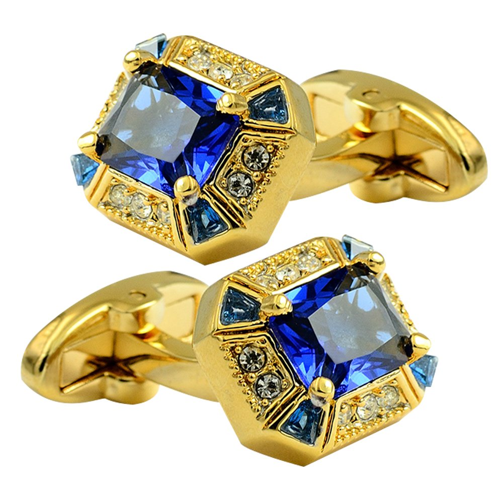 luxury gold exquisite square big blue crystal cufflinks, beautiful retro design, whale back cufflinks