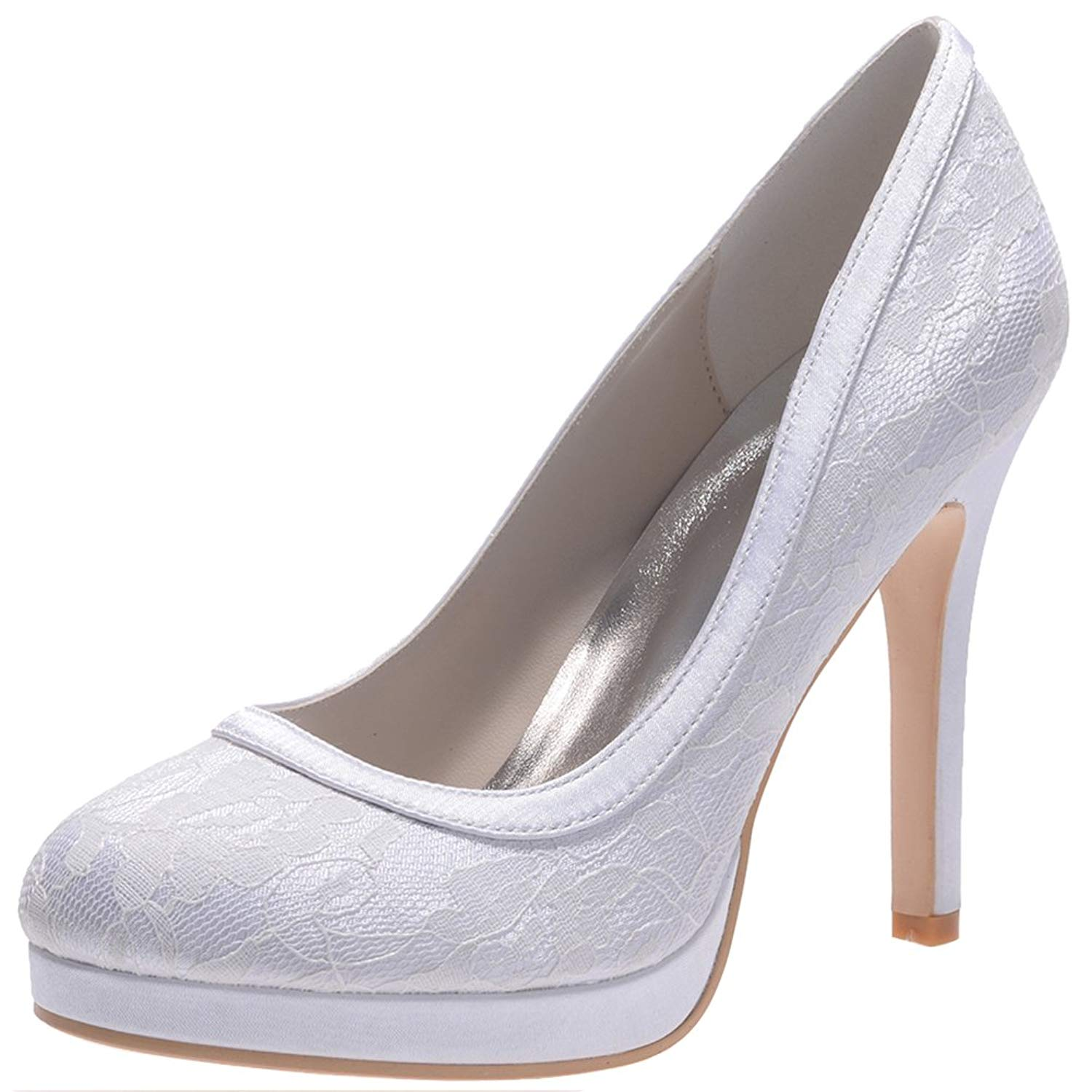 LOSLANDIFEN Women's Round Toe Lace Flower Pumps Platform High Heel Party Wedding Bridal Shoes