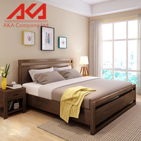 Designed Wooden Bedroom Furniture Oak Wood Range Wooden Double Bed Frame With Drawers