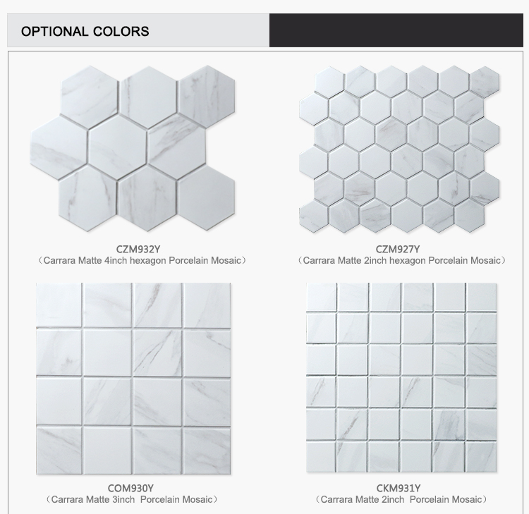 Kitchen bathroom decor ink jet matte porcelain carrara white marble mosaic floor tile 4 inch hexagon tile