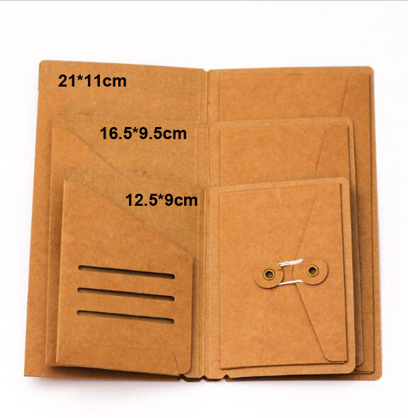 Traveler's Notebook Kraft Paper Pocker Business Card Holder Standard & Passport Style File Folder Paper Wallet A5 File Bag