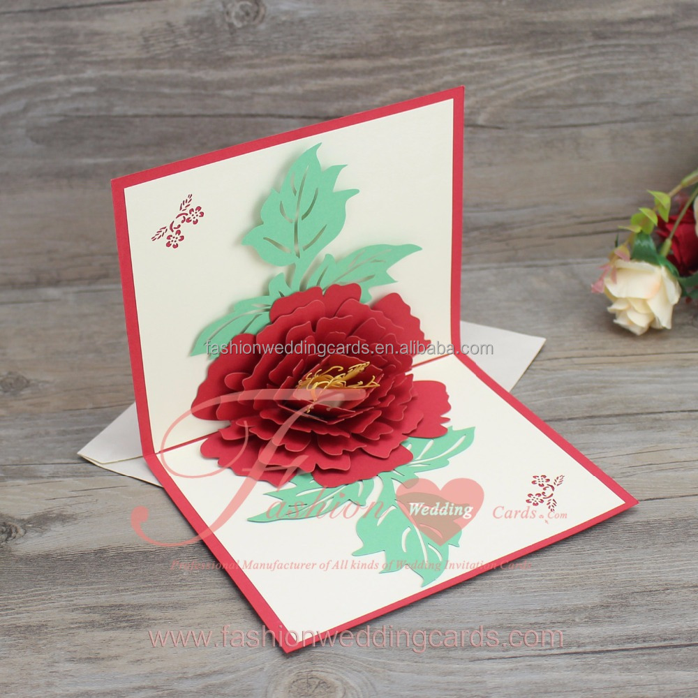 Modern Fashion Chinese Red Flower 3d Pop Up Wedding Invitations Card ...