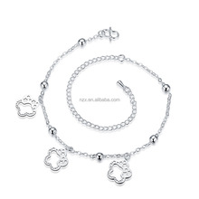 OUXIOUXI Top quality flower charms wholesale traditional indian jewelry anklet C30098-991000