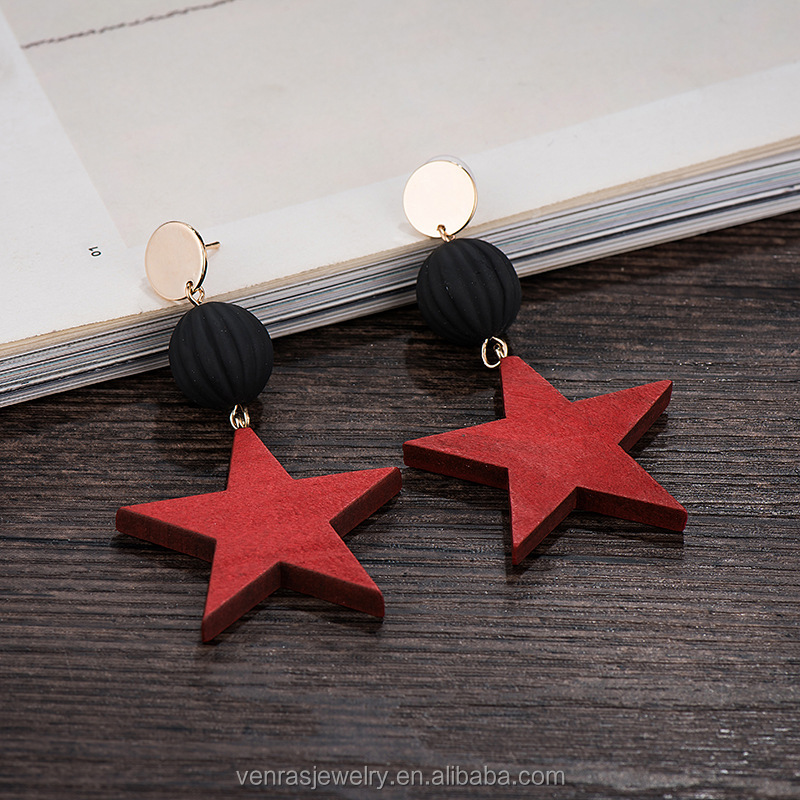 Carved Star Wooden Earrings Original Color Wood Eardrops For Painting