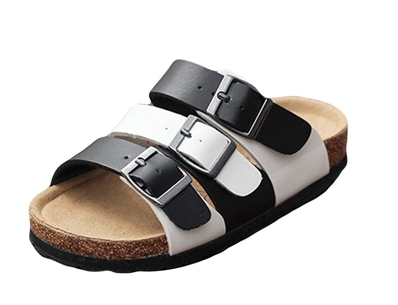 c27449e2272f Get Quotations · Liveinu Boys Girls Casual Sandal Fashion PU Leather Buckle  Footbed Flat Flip-Flops Cork Sandals