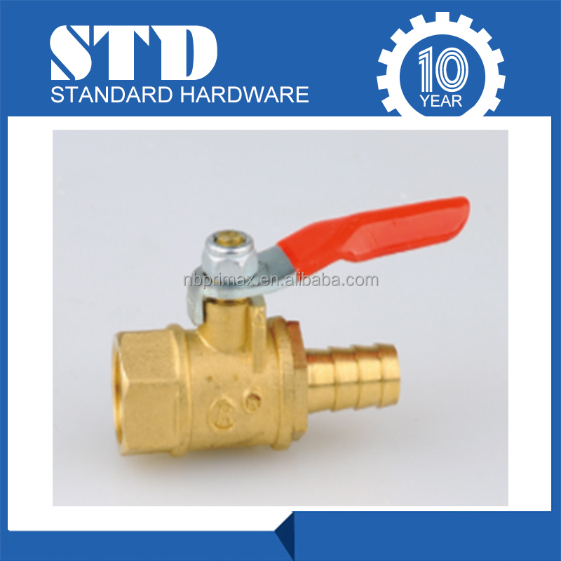 Wholesale Female Ball Valve With Hose Barb/Brass Fitting/hot water ball valve