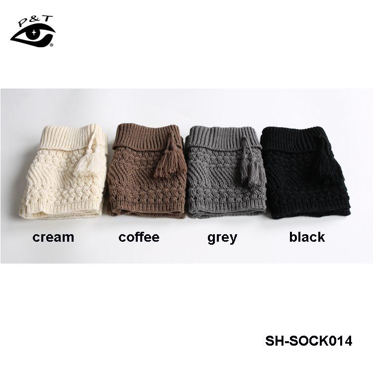 4 colores hechos a mano calcetines de punto borlas calientes ...