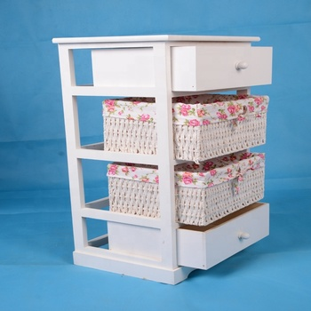 Wholesaler White bedside table bedroom furniture  Drawer 4 layers 2 Baskets modern Bedside table