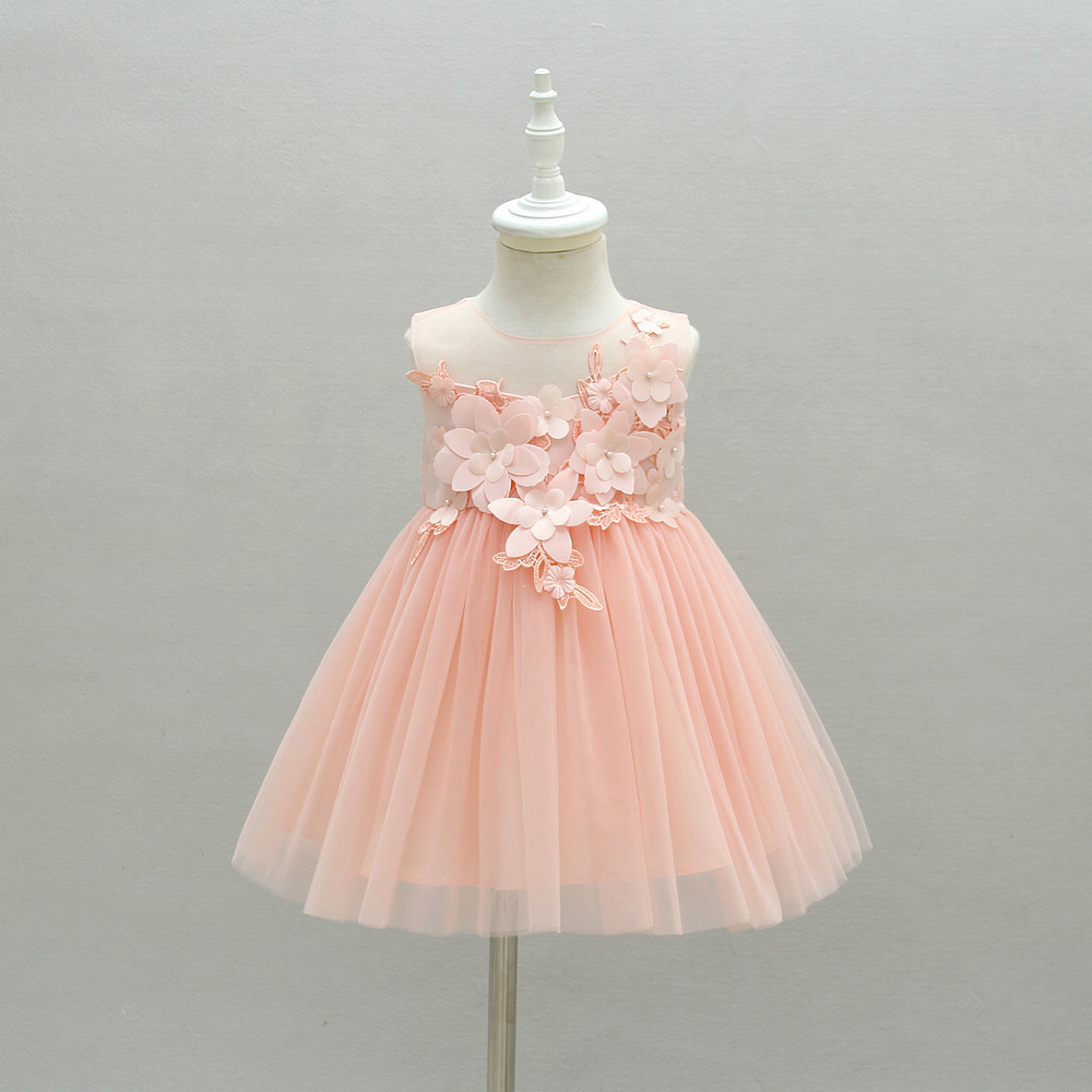 Infant Baby Girl Pink Birthday Party Princess Lace Tutu Dress
