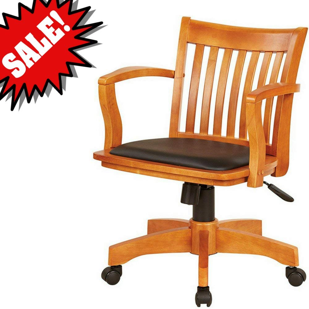 Get quotations · bankers desk chair with arm rests wooden brown with black vinyl upholstered padded tufted seat swivel