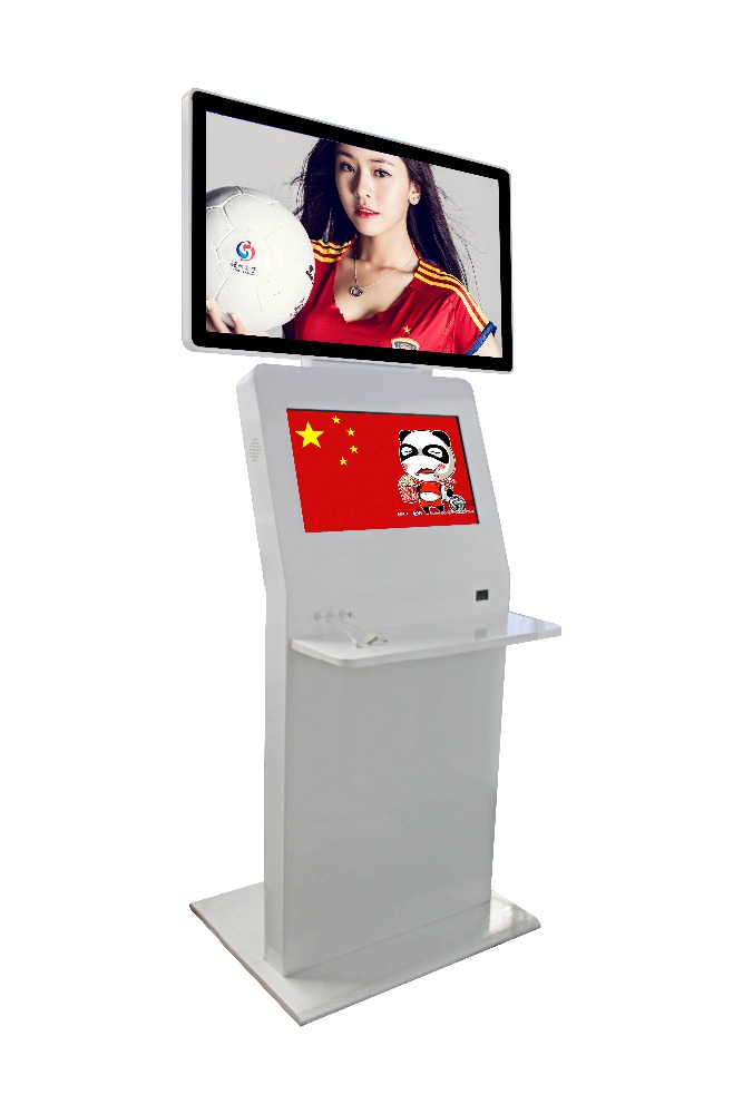 "New J 49"" player and 32inch touch screen cell phone charging station digital signage kiosk"