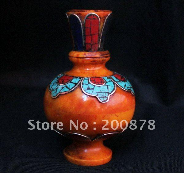 HDC0720 Tibetan Decor Arts,Beeswax Amber Vase,105mm,brass