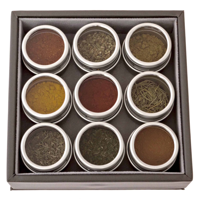 Organic Spice Starter Gift Set with Box, Magnetic Tins + 9 Organic Spices (#2: Basic Spice Kit): Cayenne, Ceylon Cinnamon, Cumin, Dill, Oregano, Paprika, Rosemary, Thyme, Turmeric