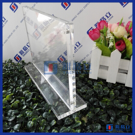 Crystal custom picture advertising poster display adjustable acrylic tablet stand acrylic sign holder