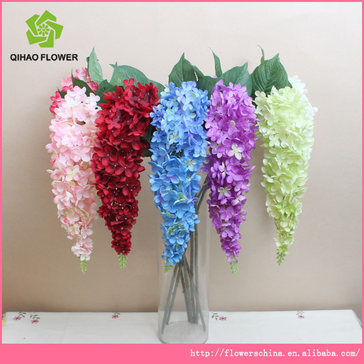 Make Artificial Flower Hydrangea With Bend Down Flowers For Clothing Decor Bonsai Leaves Vine