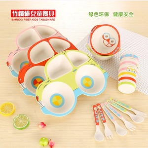 Bamboo Fiber Children's cutlery set Cute Cartoon tableware bowl plate spoon fork cup five sets of gift tableware
