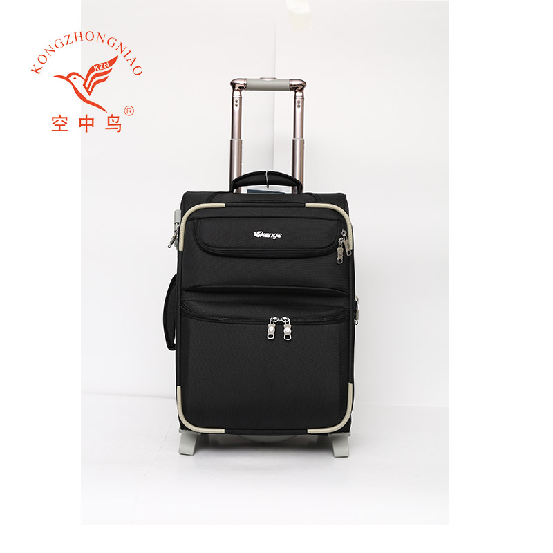 new design top quality nylon fabric trolley luggage, business luggage set with travel built-in wheels