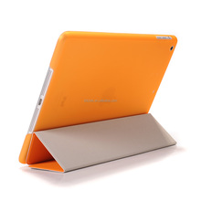 Orange PU leather stand case cover for ipad