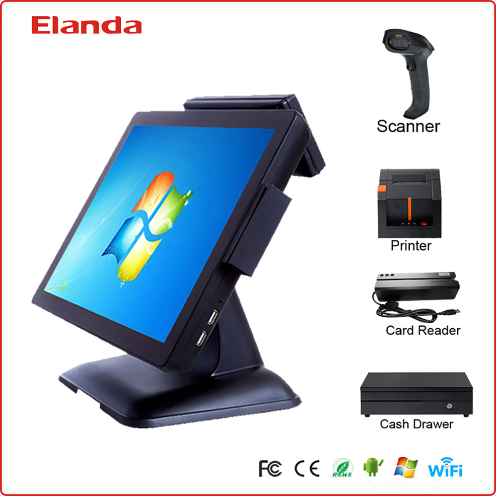 15 Inch cheapest restaurant pos system/fast food pos terminal machines/cash register for sale
