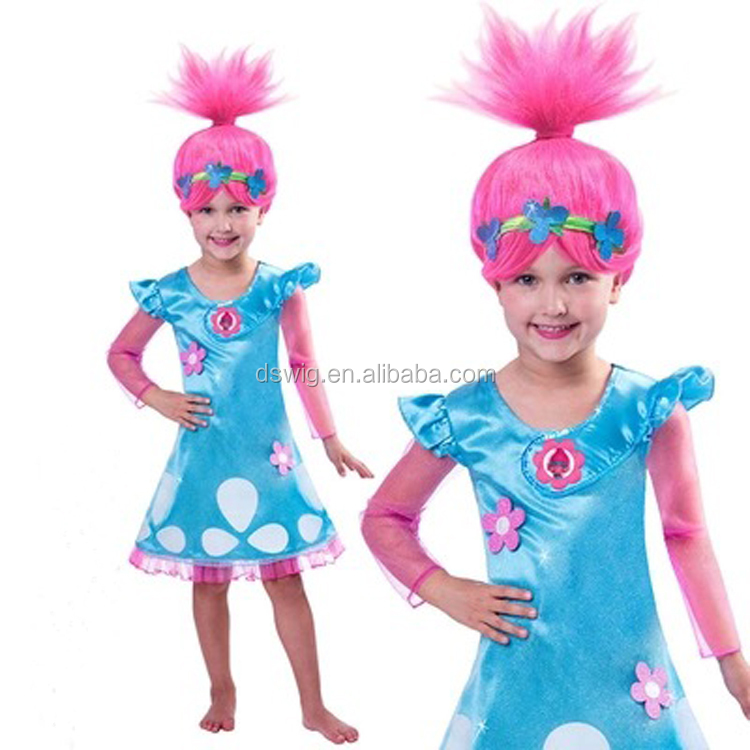 Kid Party Costume Troll Poppy Wig with Flower Headband in MASAYO
