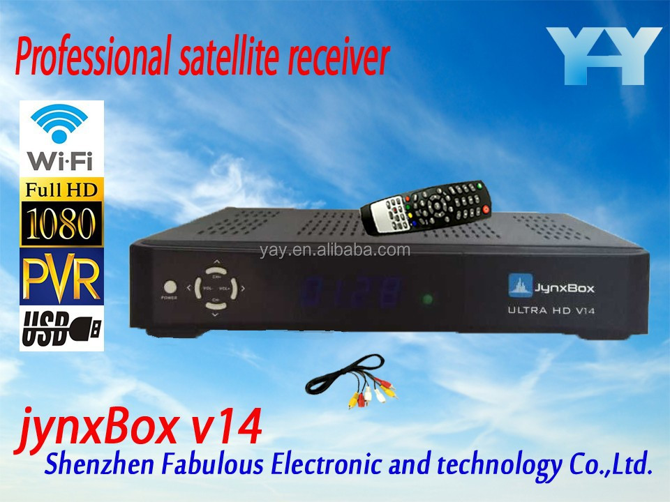 JYNXBOX Ultra <strong>hd</strong> V14 full <strong>hd</strong> media player usb wifi antenn jb200 qpsk <strong>hd</strong> module <strong>tuner</strong> turbo 8psk channels fta <strong>satellite</strong> receiver