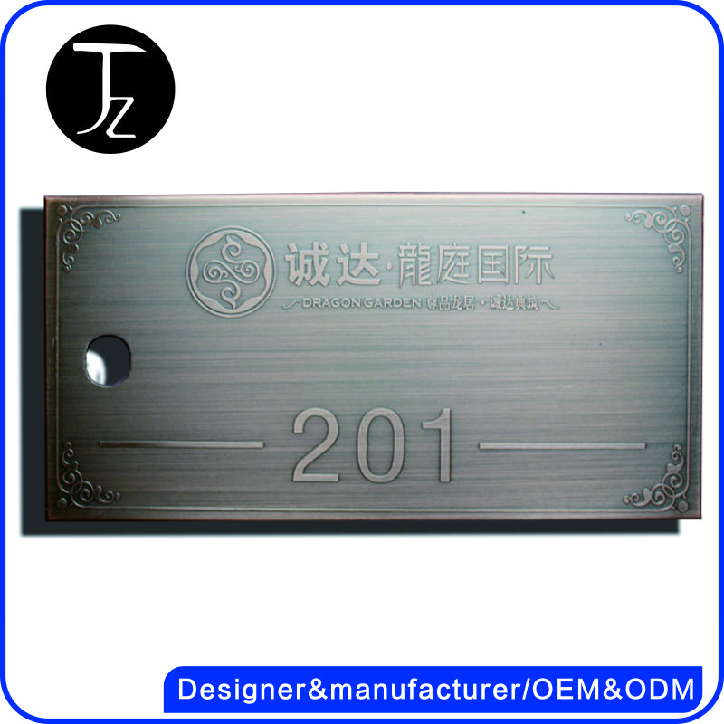 Stainless steel brushed and engraved door plate office etching door sign