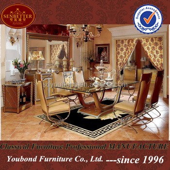 0016 European neo-classic style dining room set with glass long dining table & 0016 European Neo-classic Style Dining Room Set With Glass Long ...