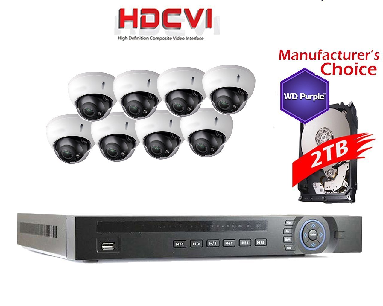 iCare CVI 1080P Package: 8CH HDCVI with 2TB WD Purple HDD Pre-installed + 8 x 2MP HDBW2220R-Z Outdoor IR Dome Camera, 2 years warranty, Local US Support