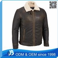 Mens Distressed Leather Open Bottom German Leather Jacket with Faux-Sherpa Lining