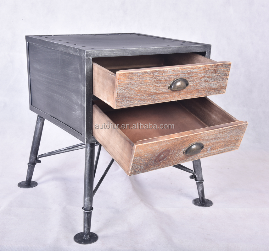 Retro Countryside Style Used Steel Storage Cabinet with Two Drawers
