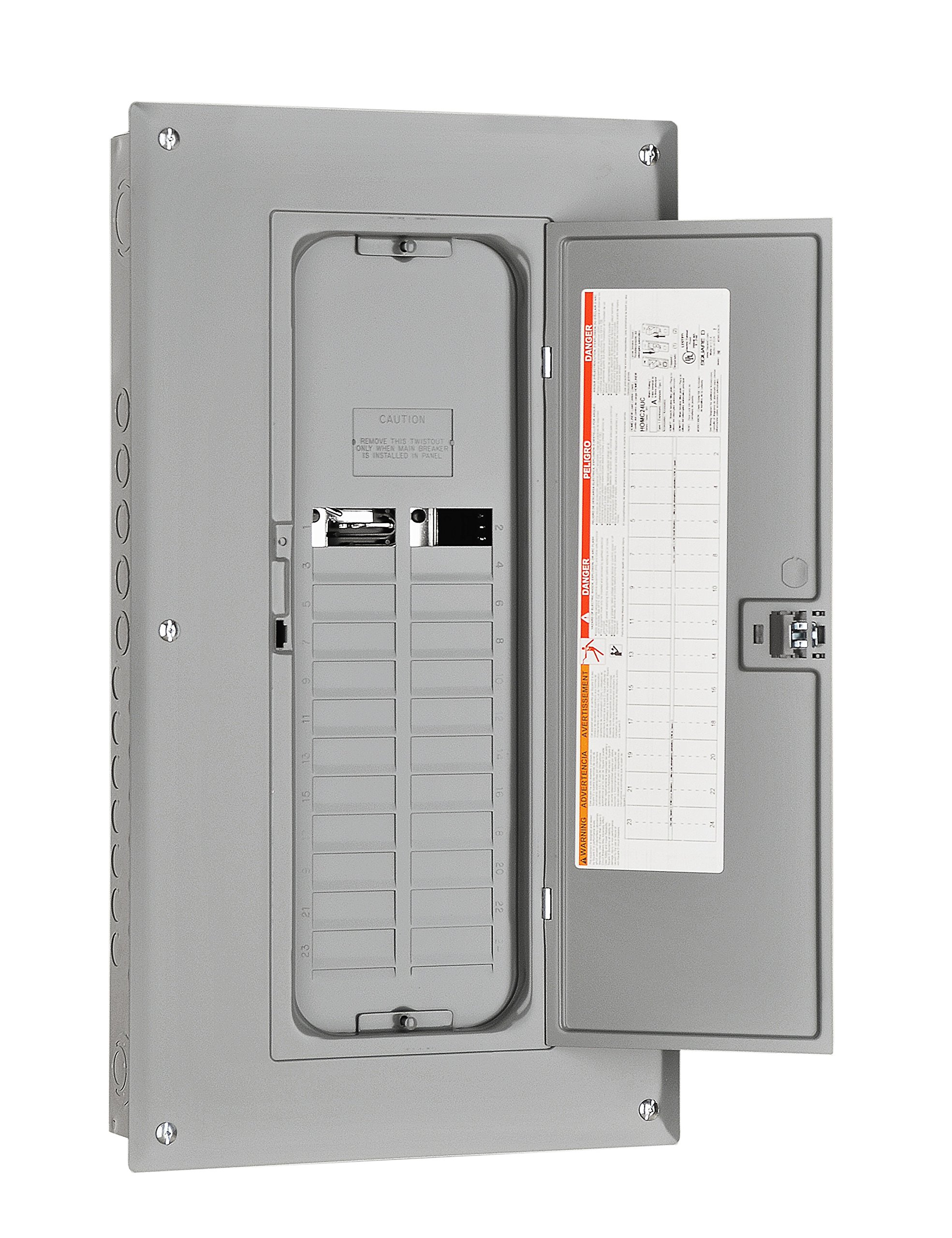Plug-on Neutral Ready Square D by Schneider Electric HOM1632L225PRB Homeline 225-Amp 16-Space 32-Circuit Outdoor Main Lugs Load Center with Cover