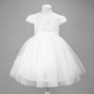 Short Sleeve Upper Beaded Little Girls' Wedding Party Dress Layered Bowknot Ruffle Dresses