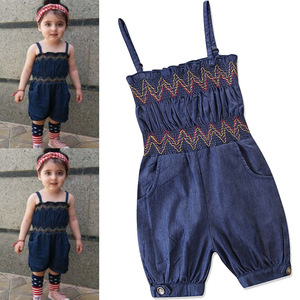 New Summer Baby Girl Romper Denim Strap One Pieces Jumpsuit Clothing 1-6Y Girls Clothes Jumpsuits