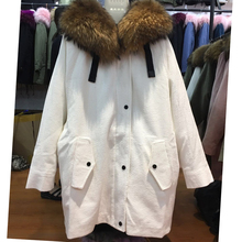 Real Lamb fur lining long style women parka coat with raccoon fur hood